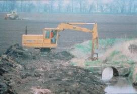 tractor in wetland